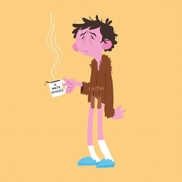 Man getting up early with a cup of coffee Premium Vector