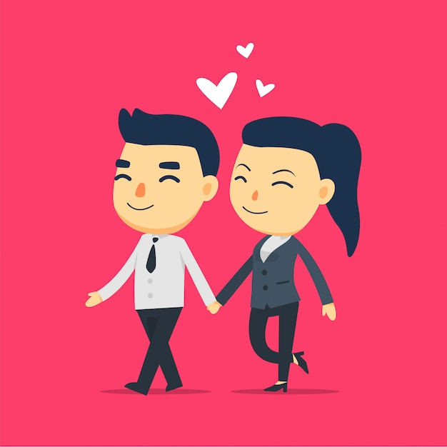 A man and a girl employee is walking together Premium Vector