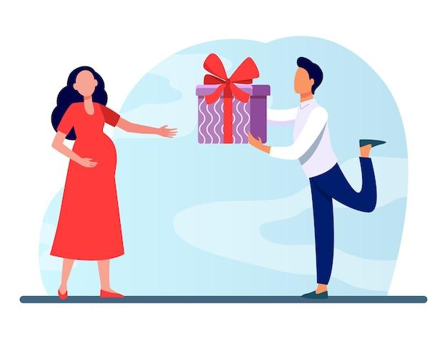妊娠中の妻に贈り物を与える男。カップル、両親、赤ちゃんフラットベクトルイラストを期待しています。家族、妊娠、愛 無料ベクター