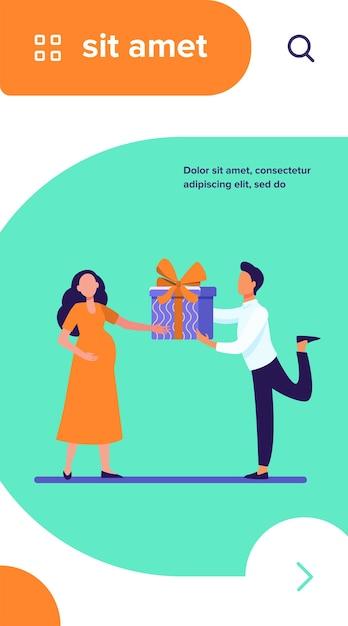 Мужчина делает подарок своей беременной жене Бесплатные векторы