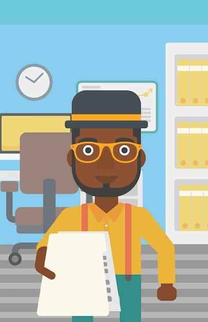 Man giving resume vector illustration. Premium Vector
