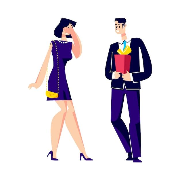 Мужчина дает женщине подарок-сюрприз. Premium векторы