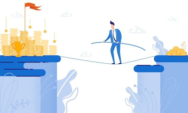 Man goes on tightrope view in front coin. Premium Vector