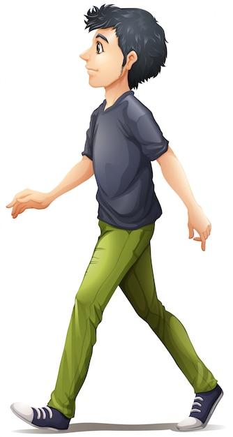 A man in grey shirt walking Free Vector