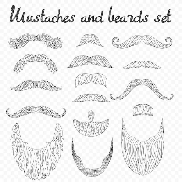 Man hair, mustache, beards collection Premium Vector