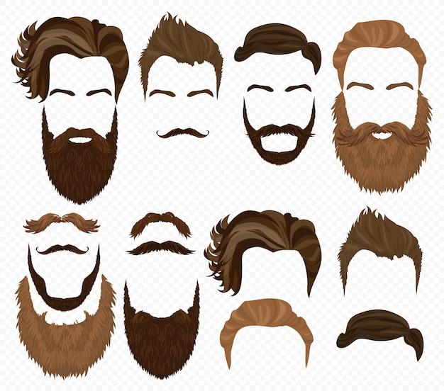 Man hair, mustache beards set Premium Vector