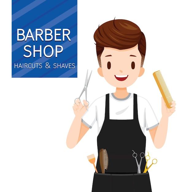 理髪店の設備を持つ男の美容師 Premiumベクター