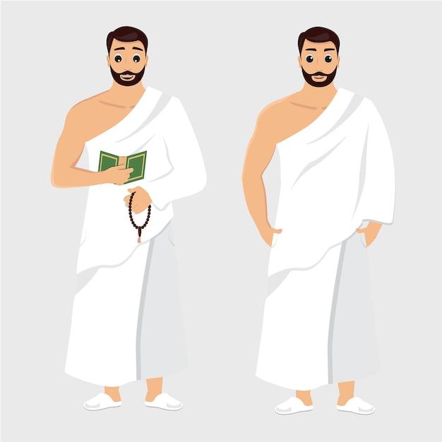 Man hajj illustrations Premium Vector