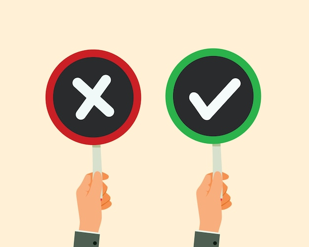 Man hand hold signboard check mark and red x Premium Vector