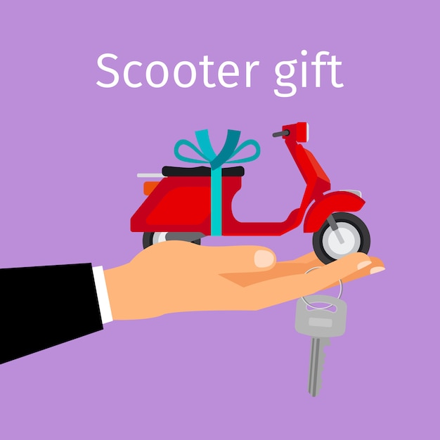 Man hand holding gift scooter Premium Vector