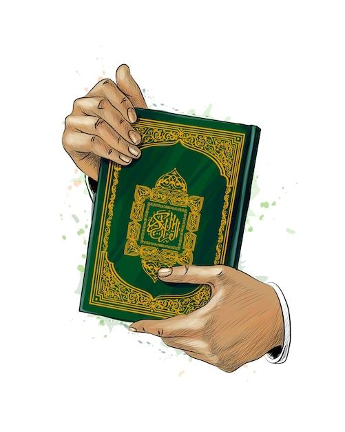 男の手は、水彩画のしぶきからコーランの神聖な本を保持しています。イスラム教徒の休日、イードムバラク、ラマダンカリーム。手描きのスケッチ。塗料のイラスト Premiumベクター