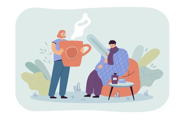 風邪やインフルエンザにかかり、格子縞に身を包み、体温を測定している男性。漫画イラスト 無料ベクター