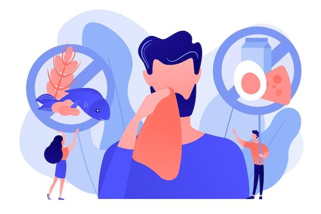 Мужчина с симптомами пищевой аллергии на такие продукты, как рыба, молоко и яйца. пищевая аллергия, ингредиент пищевого алергена, концепция фактора риска аллергии. розоватый коралловый bluevector вектор изолированных иллюстрация Бесплатные векторы