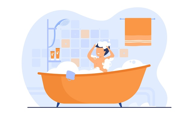 Мужчина принимает душ или ванну, сидит в ванне с пеной, мыть волосы. векторная иллюстрация для ванной комнаты, гигиены тела, отдыха, утренней концепции Бесплатные векторы