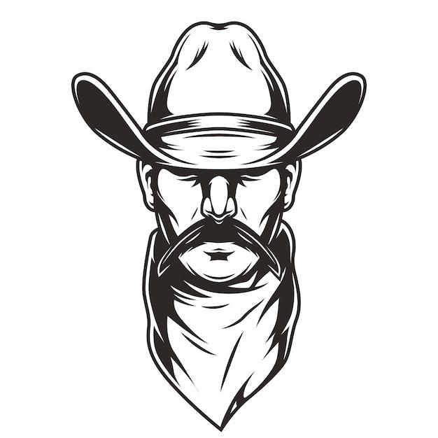Man head in cowboy hat Free Vector