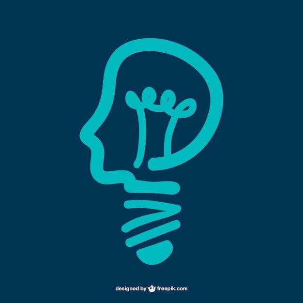 Man head forming a bulb Free Vector