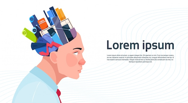 Man head with box with office stuff digrams and charts with percents on white background with copy space Premium Vector
