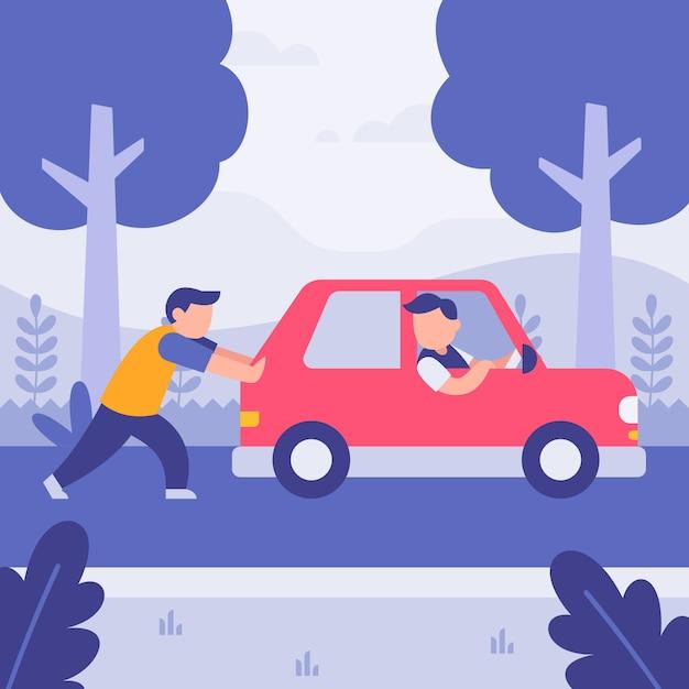Man helping friend pushing broken car Premium Vector
