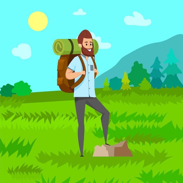 Man hiking, green nature, travel hobby vector Premium Vector