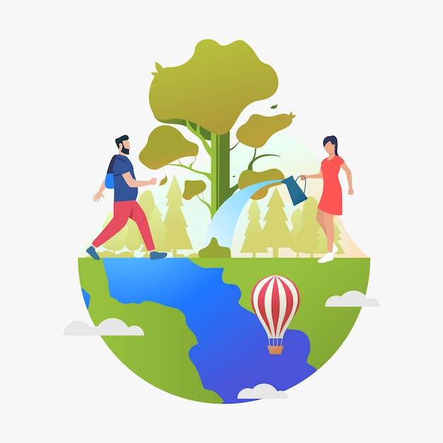 Man hiking and woman watering tree on earth globe Free Vector