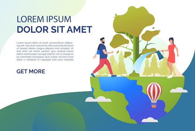 Man hiking, woman watering tree on earth and sample text Free Vector