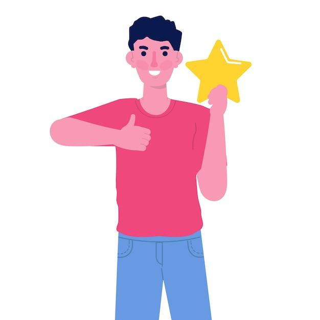 남자는 금 등급 별을 개최합니다. 긍정적 인 별 피드백 프리미엄 벡터