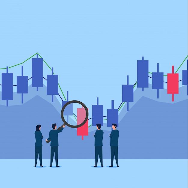 Увеличьте удержание человека на графике фондовой торговли, чтобы проанализировать его. Premium векторы