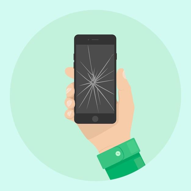 Man hold phone with cracked screen. broken smartphone in hand Premium Vector