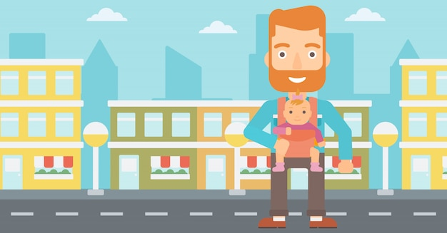 Man holding baby in sling. Premium Vector