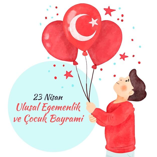 Мужчина держит воздушные шары с турецким флагом Бесплатные векторы