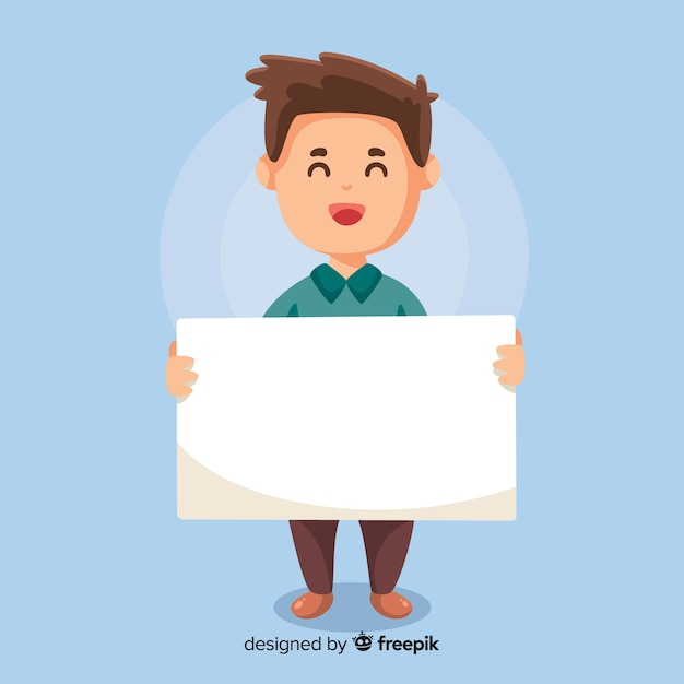 Man holding banner Free Vector
