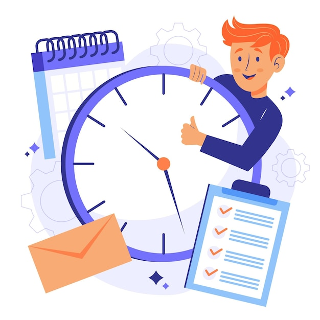 Man holding a clock time management concept Free Vector