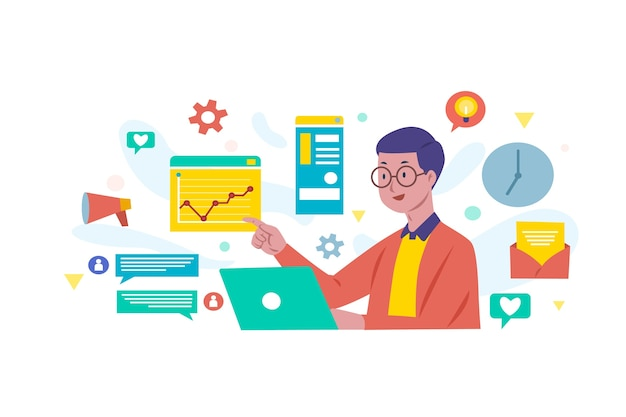 Man holding a laptop and multitasking Free Vector