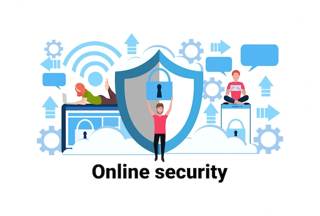 Man holding padlock online security concept privacy information data protection web Premium Vector