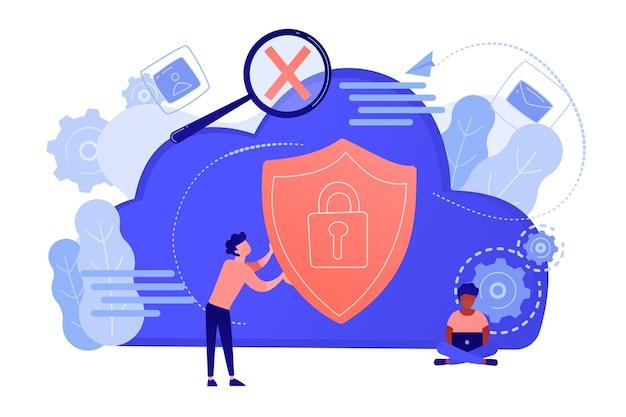 보안 방패와 노트북을 사용하는 개발자를 들고 남자. 데이터 및 애플리케이션 보호, 네트워크 및 정보 보안, 안전한 클라우드 스토리지 개념. 벡터 격리 된 그림입니다. 무료 벡터