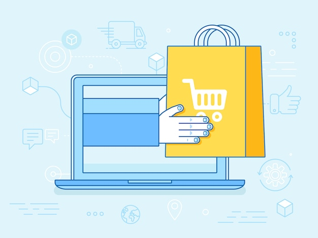 Man holding a shopping bag in screen pc Premium Vector