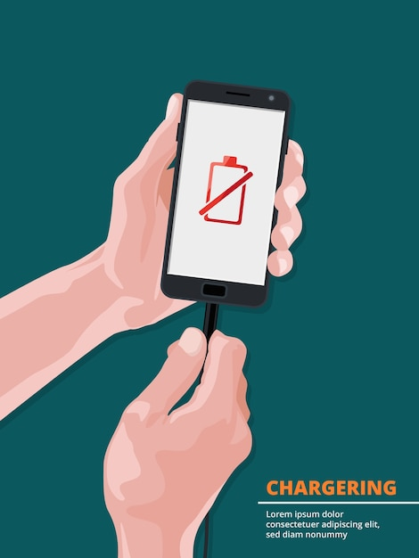 Man holding smartphone with picture on screen of low battery charge. power battery and recharge phone.  illustration Premium Vector