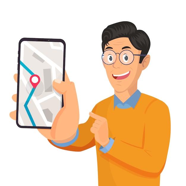 Man holding smartphone Premium Vector