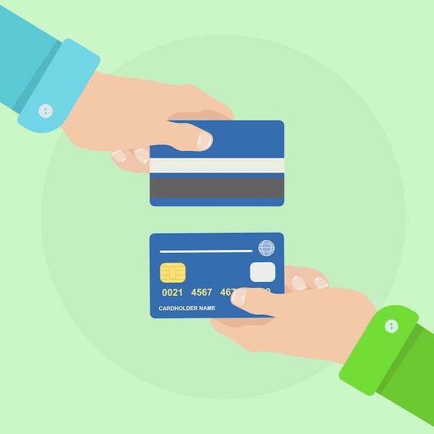Мужчина держит кредитную или депозитную карту. банковский платеж Premium векторы