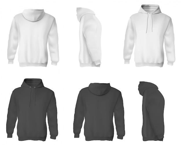 Толстовка мужская. черно-белые пустые мужские толстовки с капюшоном. Premium векторы