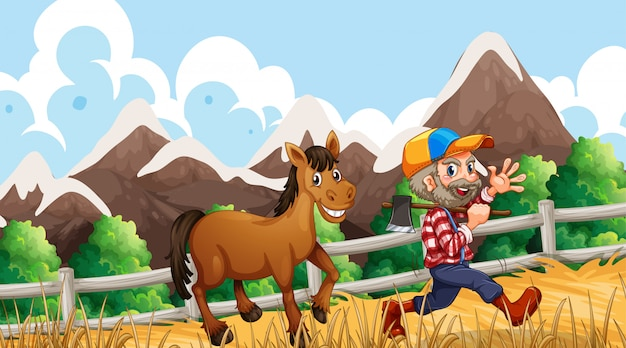 Man and horse on farm Free Vector