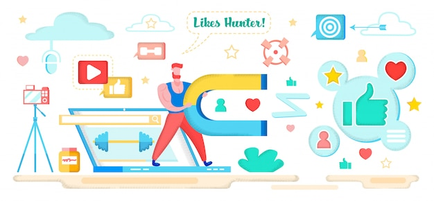 Man hunter holding magnet and attracting users. Premium Vector