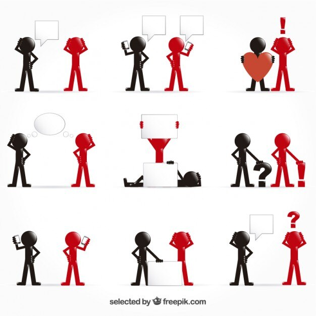 Man icons in black and red colors