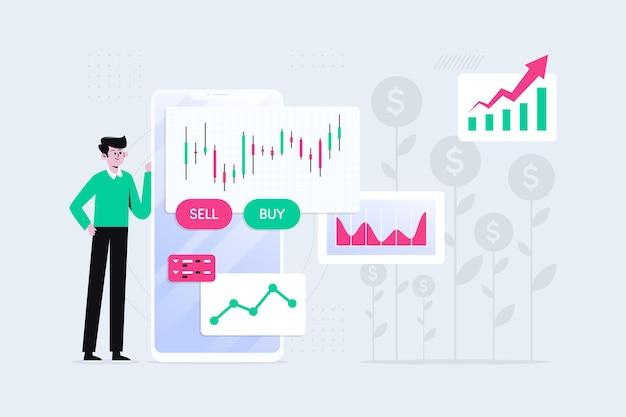 Человек проиллюстрирован данными биржи Бесплатные векторы