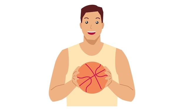 Человек в баскетбольной экипировке с мячом Premium векторы