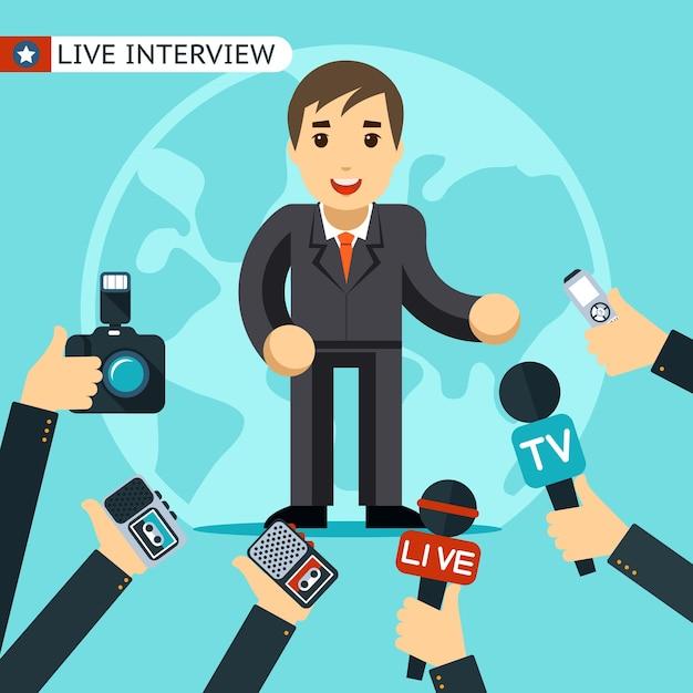 インタビューを受けているスーツを着た男。ディクタフォンで撮影および記録されている。 無料ベクター