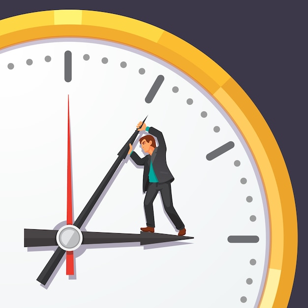 Man in business suit trying to stop time Free Vector