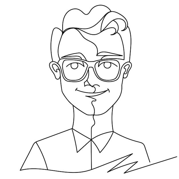 안경 웃는 초상화 한 라인 아트에 남자. 행복한 남성 표정. 손으로 그린 선형 남자 실루엣. 프리미엄 벡터
