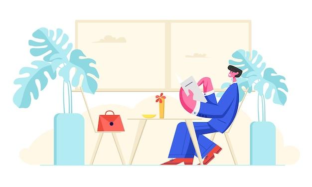 注文を作る手でメニューとカフェに座っているフォーマルなスーツの男 Premiumベクター