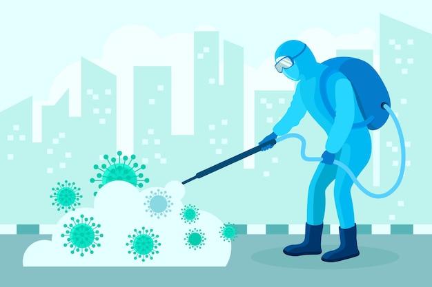 Человек в костюме hazmat очищает город от бактерий Бесплатные векторы